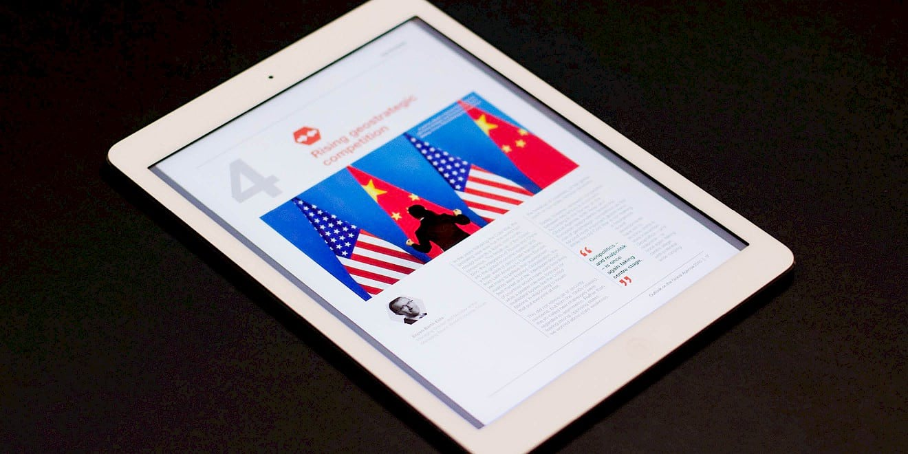 World Economic Forum: Outlook on the Global Agenda 2015 report on a tablet