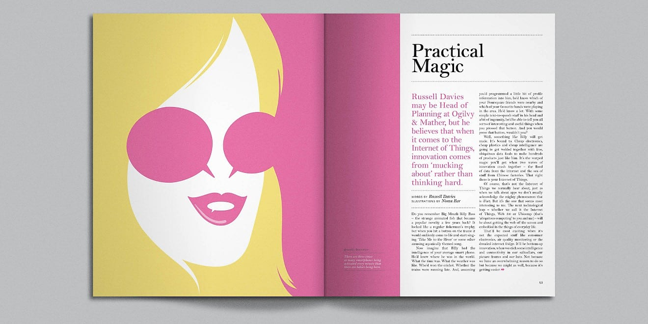 Practical Magic page design from Google Think Quarterly magazine