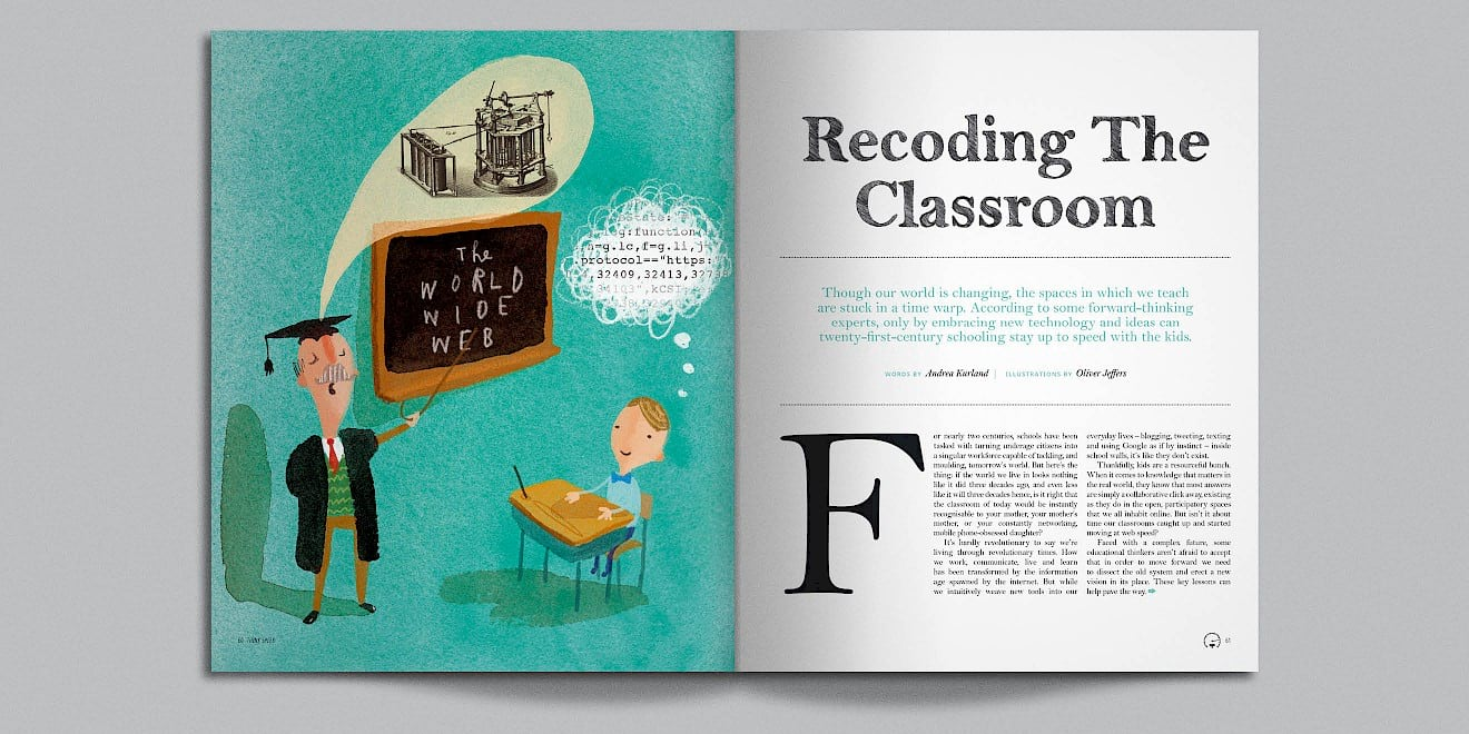 Recoding the Classroom page design from Google Think Quarterly magazine