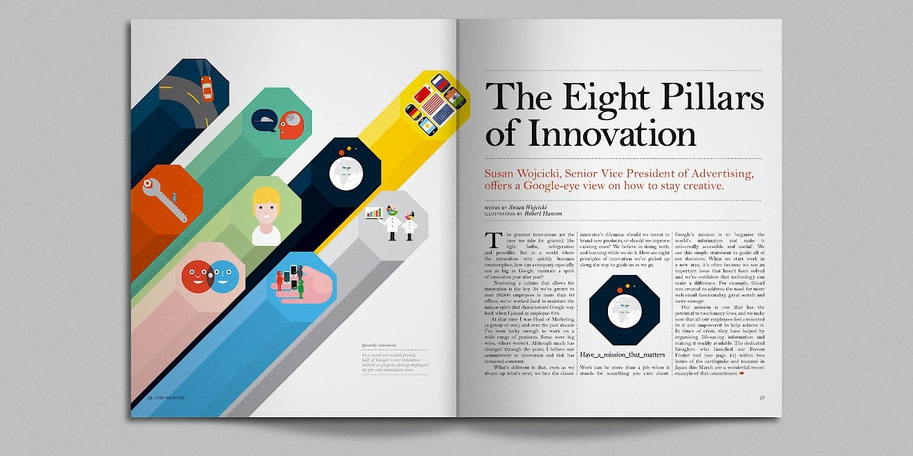The Eight Pillars of Innovation page design from Google Think Quarterly magazine