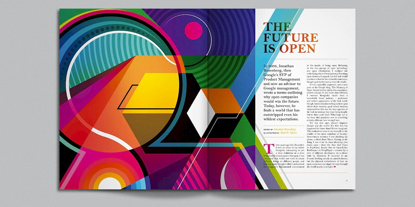 The Future is Open page design from Google Think Quarterly magazine