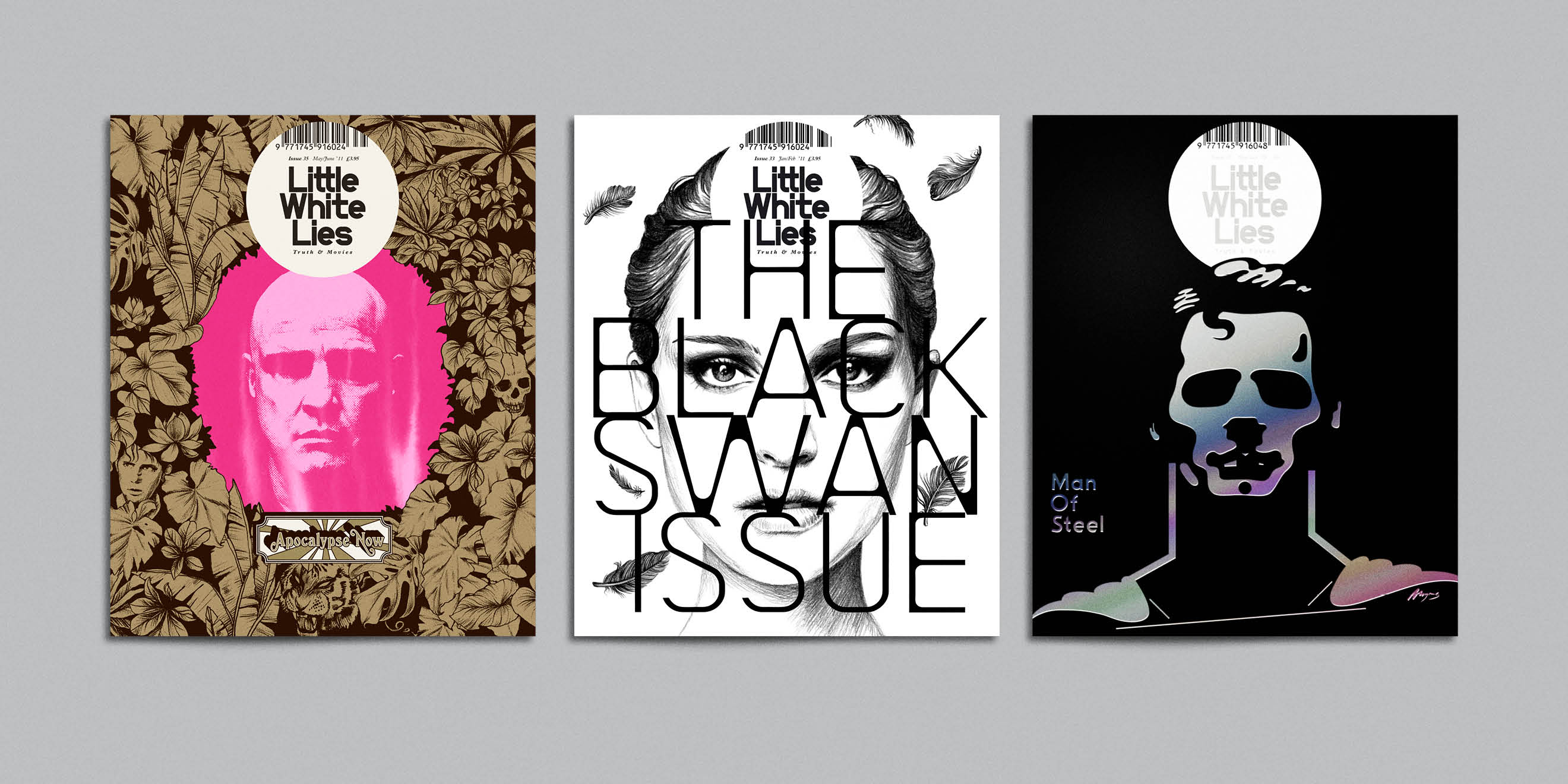 Little White Lies movie magazine illustrated covers - Apocalypse Now, Black Swan, Man of Steel