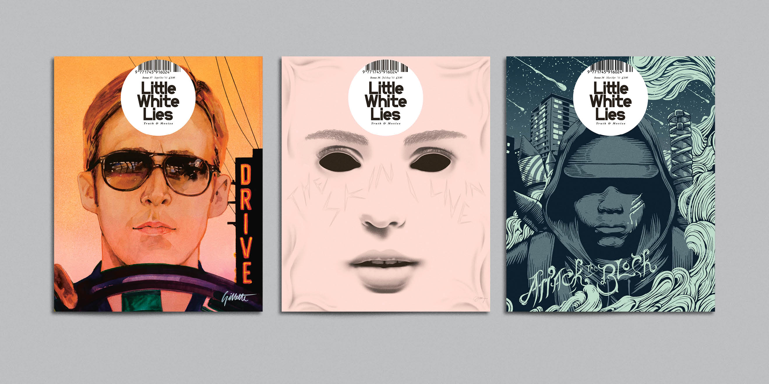 Little White Lies movie magazine illustrated covers - Drive, The skin I live in, Attack the Block