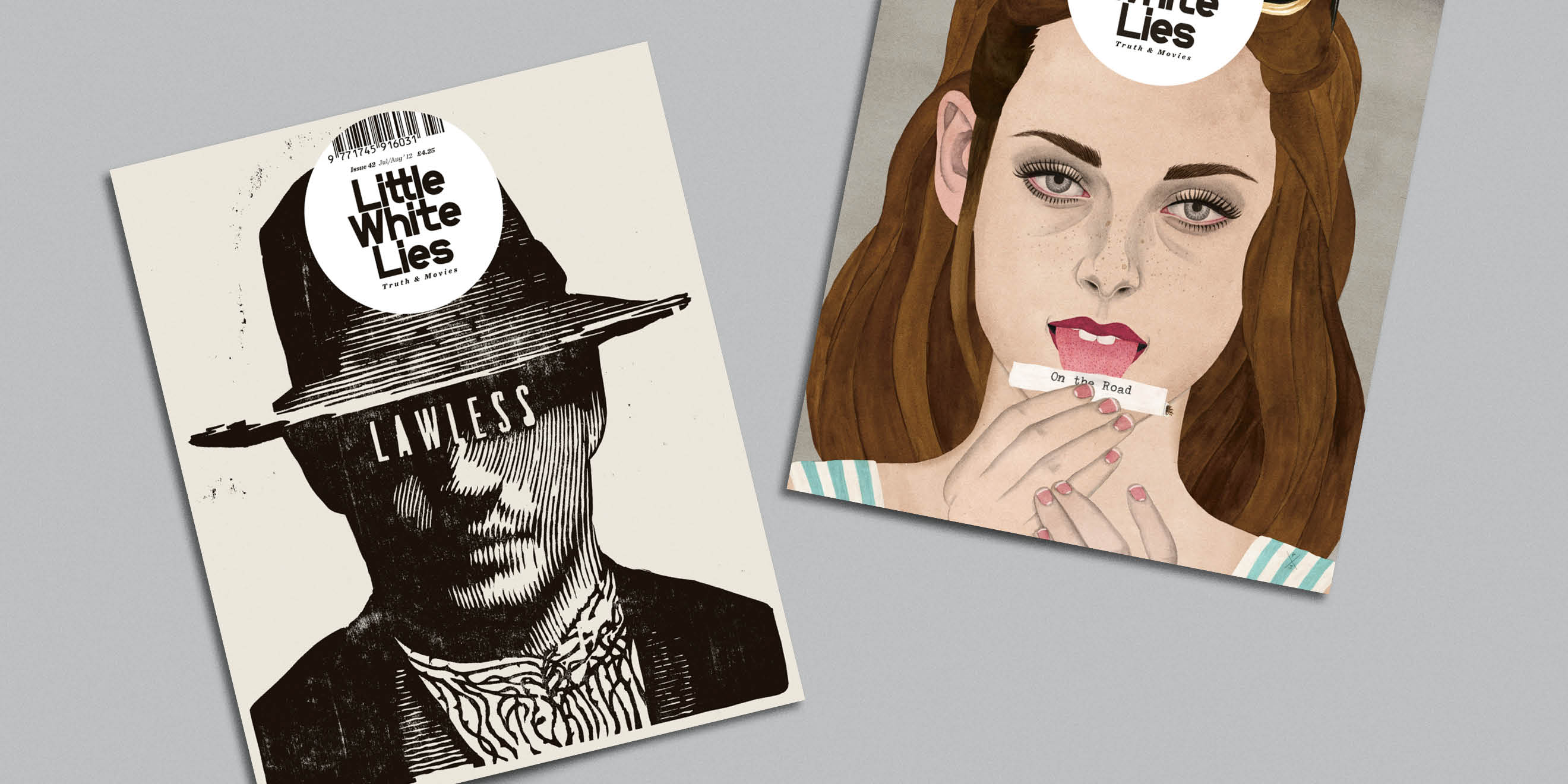 Little White Lies movie magazine illustrated covers - Lawless, On the Road