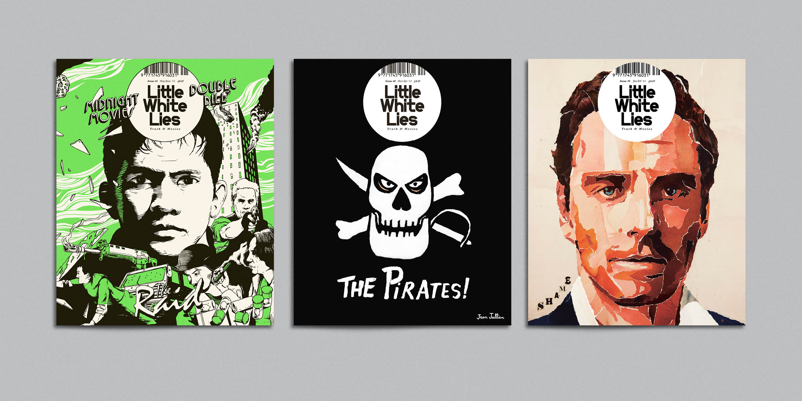 Little White Lies movie magazine illustrated covers - The Raid, The Pirates!, Shame
