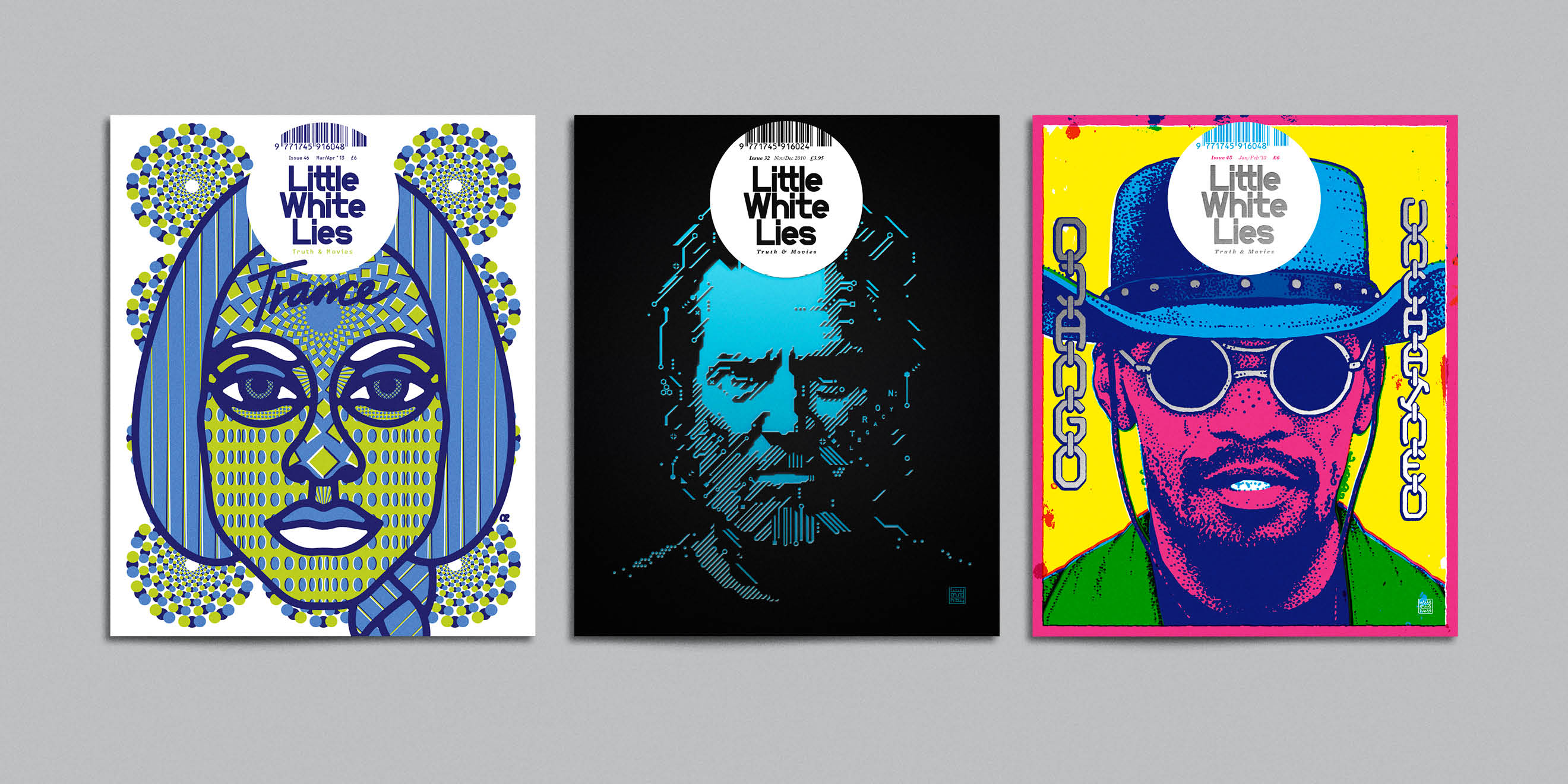 Little White Lies movie magazine illustrated covers - Trance, Tron Legacy, Django Unchained