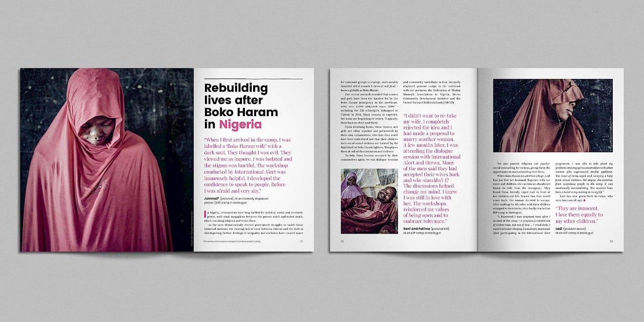 Spreads from the International Alert anniversary booklet - image 3