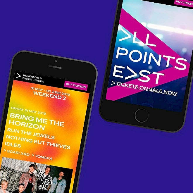 All Points East festival website design and build by Human After All design agency